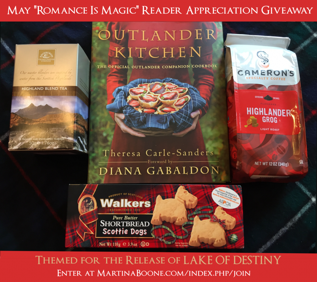 May Reader Appreciation Giveaway Contents: Outlander Kitchen Cookbook, Edinburgh Tea Company Highland Tea, Highlander Grog Coffee, Walkers Shortbread Scottie Dogs